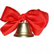 Bell with red ribbons isolated on white — Stock Photo
