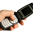 Cell phone in hand — Stock Photo