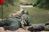 Army shooting exercise — Stock Photo