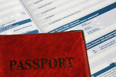 Passport on application form. — Stock Photo