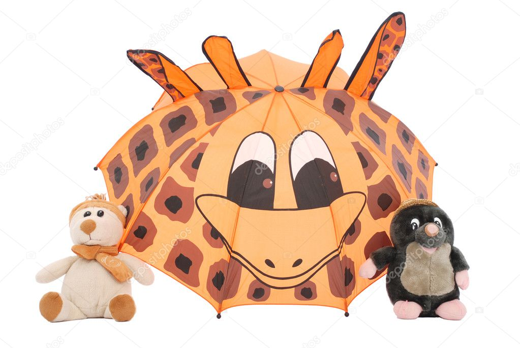 Umbrella and furry toy isolated on white background  Stock Photo #1419833
