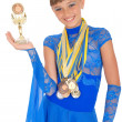Stock Photo: Many gold, silver, and bronze medals