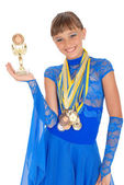 Many gold, silver, and bronze medals — Stock Photo