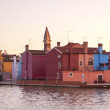 Burano at sunset — Stock Photo