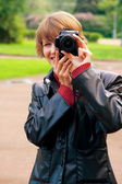 Photographing in park — Stock Photo