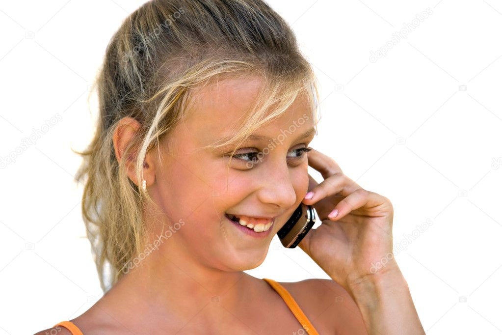 Little girl talk to phone  Stock Photo #1508900