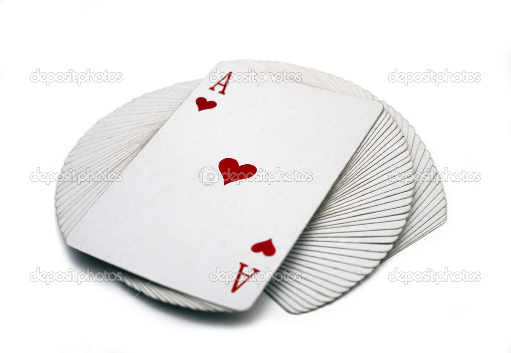 Pack of playing cards on a table  Foto de Stock   #1526946