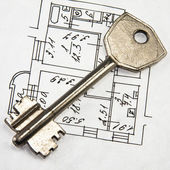 Architectural plan and key — Stock Photo
