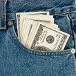 Money in front-pocket of jeans — Stock Photo #1532886