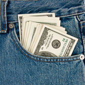 Money in front-pocket of jeans — Stock Photo