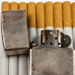 Zippo on the cigarettes — Stock Photo