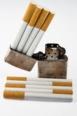 Cigarettes and lighters — Stock Photo