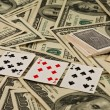 Dollars and playing cards, prize — Stock Photo