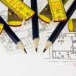 Pencil, ruler on architectural plan — Stock Photo #1583945