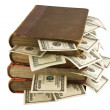 Stock Photo: Dollars in the old books