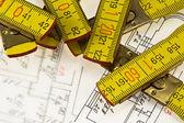 Architectonische plan en liniaal — Stockfoto