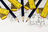 Pencil, ruler on the architectural plan — Stock Photo