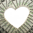 Frame of dollars,in the form of heart — Stock Photo