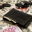 Car key,keychain,car,wallet,money — Stock Photo #2025605