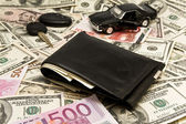 Car key,keychain,car,wallet,money — Stock Photo