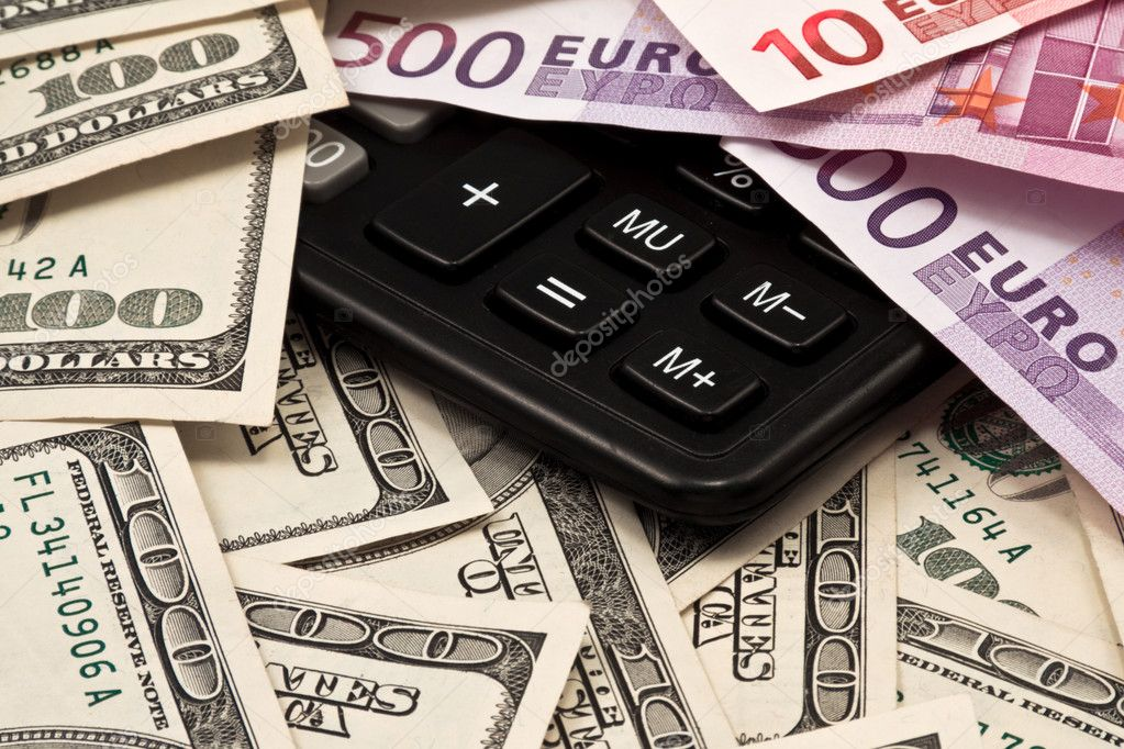 Background from dollars, euro and calculator — Stock Photo #2044809