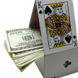 Stock Photo: Card game and money on white background