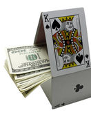 Card game and money on white background — Foto Stock