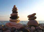 Sea pebble towers — Stock Photo
