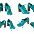 Foto Stock: Female green varnished shoes