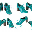 The female green varnished shoes - Photo