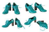 De kvinnliga gröna lackerade skorna — Stockfoto