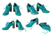 The female green varnished shoes — Stock Photo