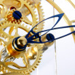 Mechanism of a gold clock - Stockfoto
