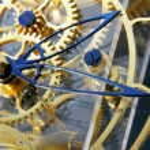 Mechanism of a gold clock — Stock Photo