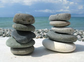 Sea pebble towers — Stock Photo