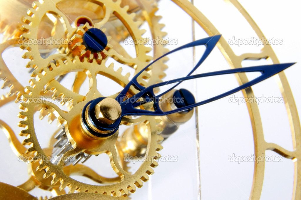 Details of the mechanism of a gold mechanical clock — Stock Photo #1482698