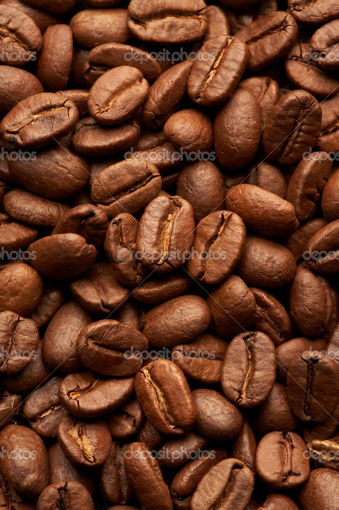 Coffe beans background, macro closeup  Stock Photo #1357206