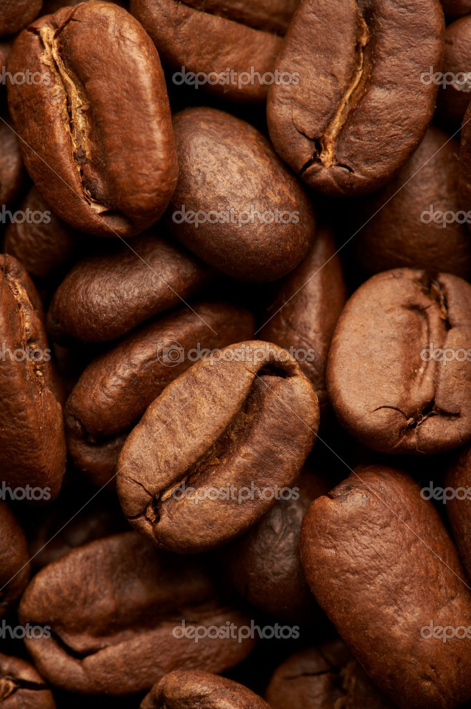 Coffe beans background, macro closeup — Stock Photo #1358328