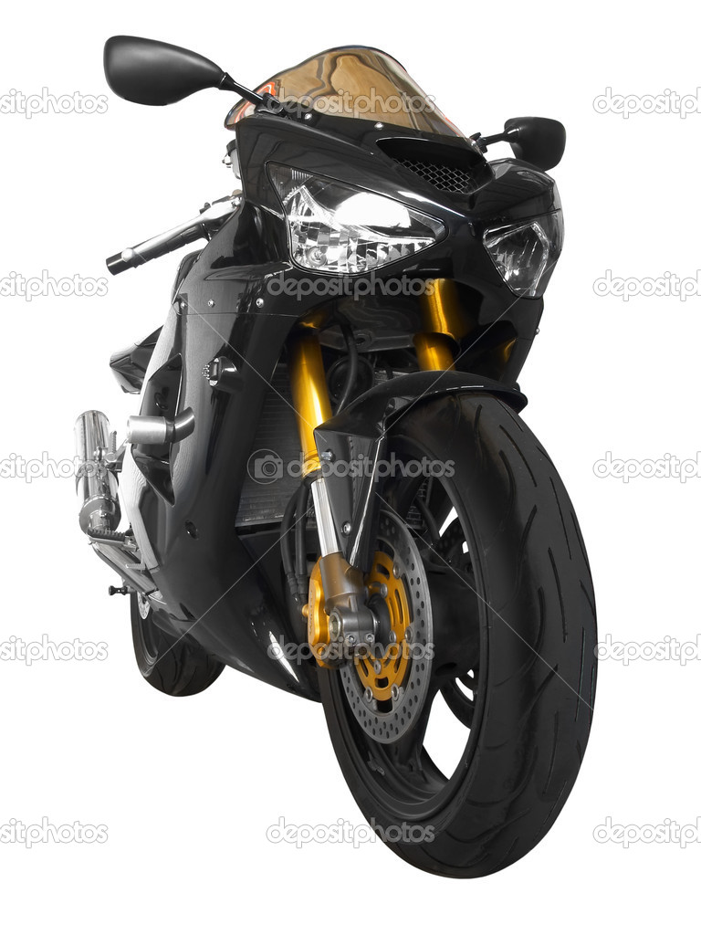 Black sporting motorcycle in a white background  — Stock Photo #1358473