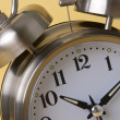 Macro of Retro Silver Alarm Clock — Stockfoto