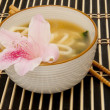 Royalty-Free Stock Photo: Miso Soup Garnished with a Flower