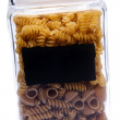 Glass Canister with Pasta — Stock Photo
