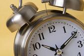 Macro of Retro Silver Alarm Clock — Stock Photo