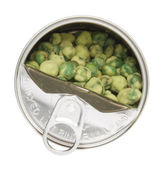Open Can of Wasabi Covered Peas — Stock Photo