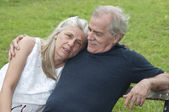 Senior Man Looks Happily at His Wife — Stock Photo