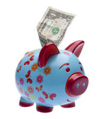 Brightly Colored Piggy Bank with Money — Stock Photo