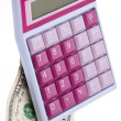 Pink Caluclator with Money — Stock Photo