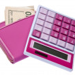 Pink Calculator with Money Filled Wallet — Stock Photo