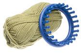 Knitting Loom with Yarn — Stock Photo