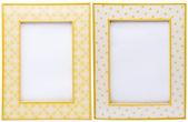 Paar van gele afbeeldingsframes — Stockfoto